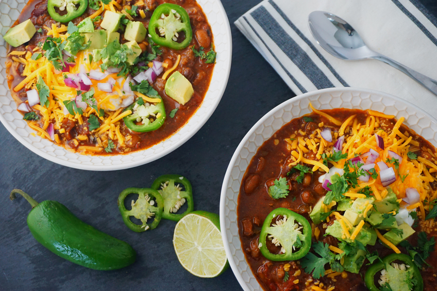 mole-inspired short rib chili with jalapeños, dried ancho chiles and black beans