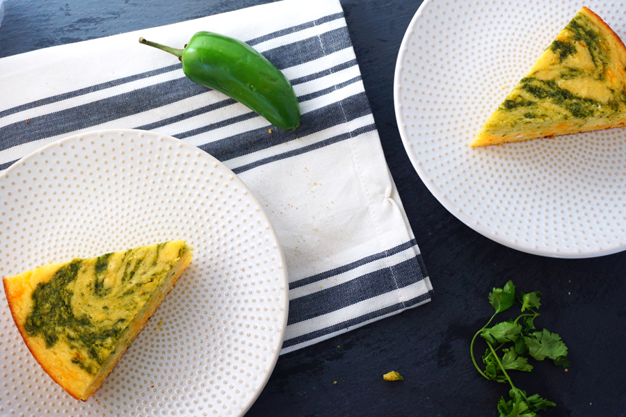 marbled jalapeno cheddar cornbread made with buttermilk and masa harina