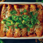 Vegan enchiladas with walnut meat, cauliflower, sweet potato and Sky Valley Enchilada Sauce