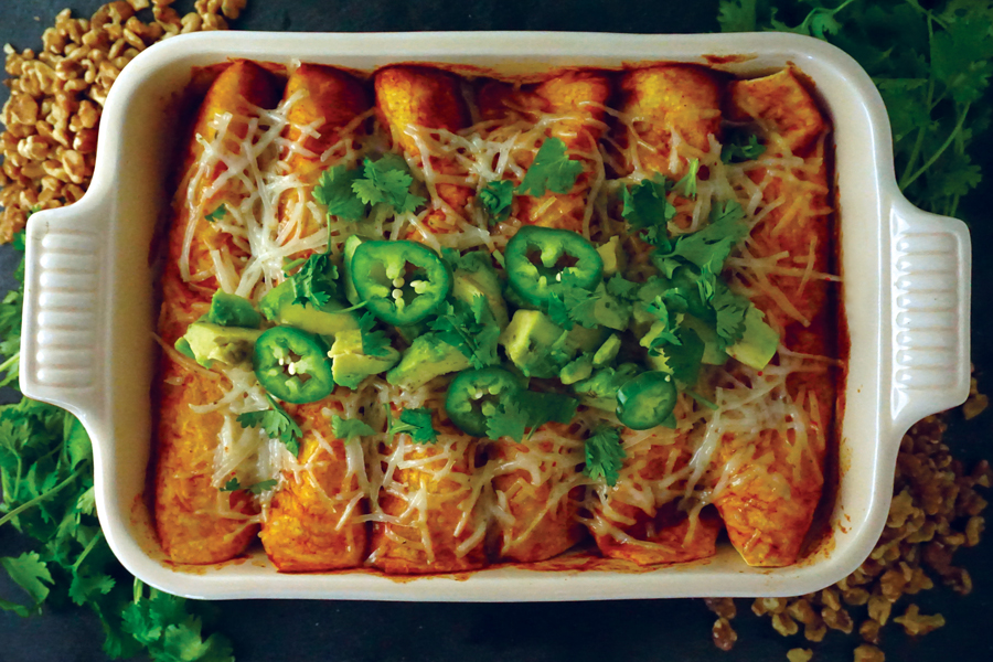 Vegan Cauliflower Harvest Enchiladas Rojas