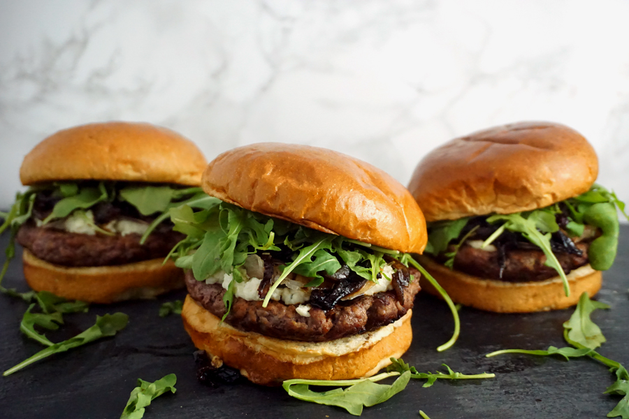 Boursin Burgers with Crisp Prosciutto and Onion Jam