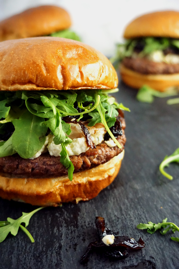 Boursin Cheese Burgers with Balsamic Onion Jam on Brioche Buns