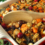 Thanksgiving Stuffing with quinoa, apples, cranberries and hazelnuts
