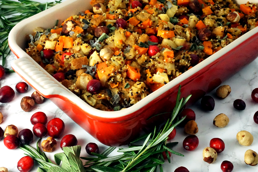 Hazelnut Cranberry Quinoa Stuffing with Apples and Sweet Potato