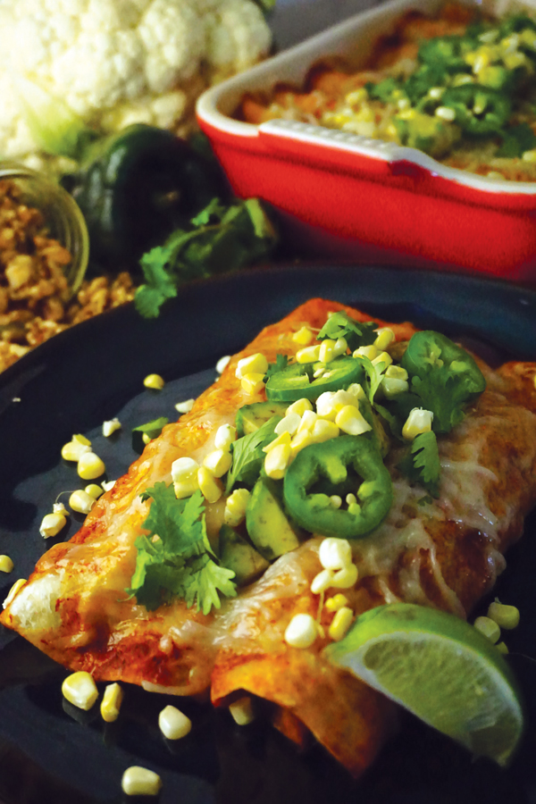 Vegan enchiladas with walnut meat, cauliflower, sweet potato and Sky Valley Enchilada Sauce
