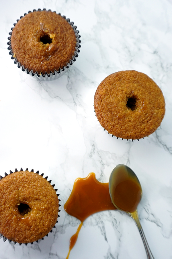 A caramel-flavored cupcake with caramel filling