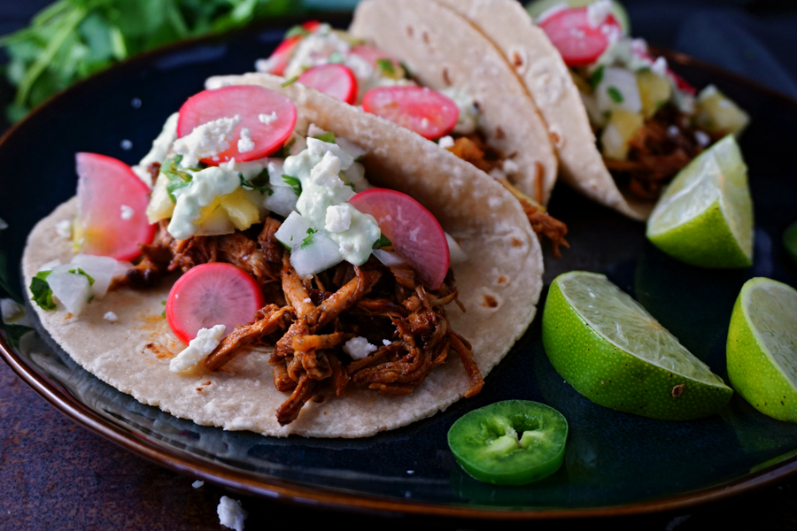 Honey Chipotle Pork Tacos with Pineapple-Jicama Salsa