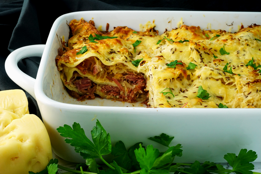 Reuben Lasagna for St. Patrick's Day Dinner in a casserole dish