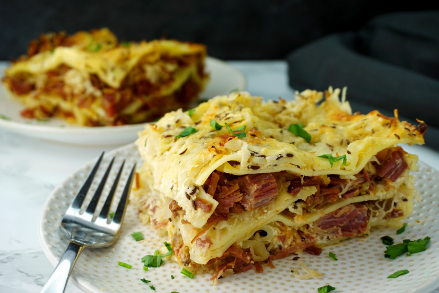 Reuben Lasagna for St. Patrick's Day Dinner on a plate
