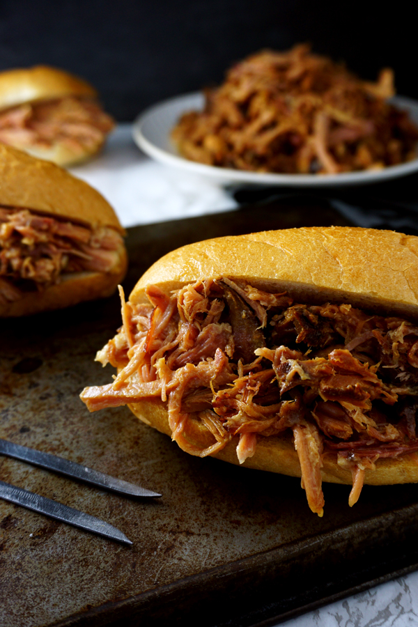 Shredded pulled root beer ham sandwiches