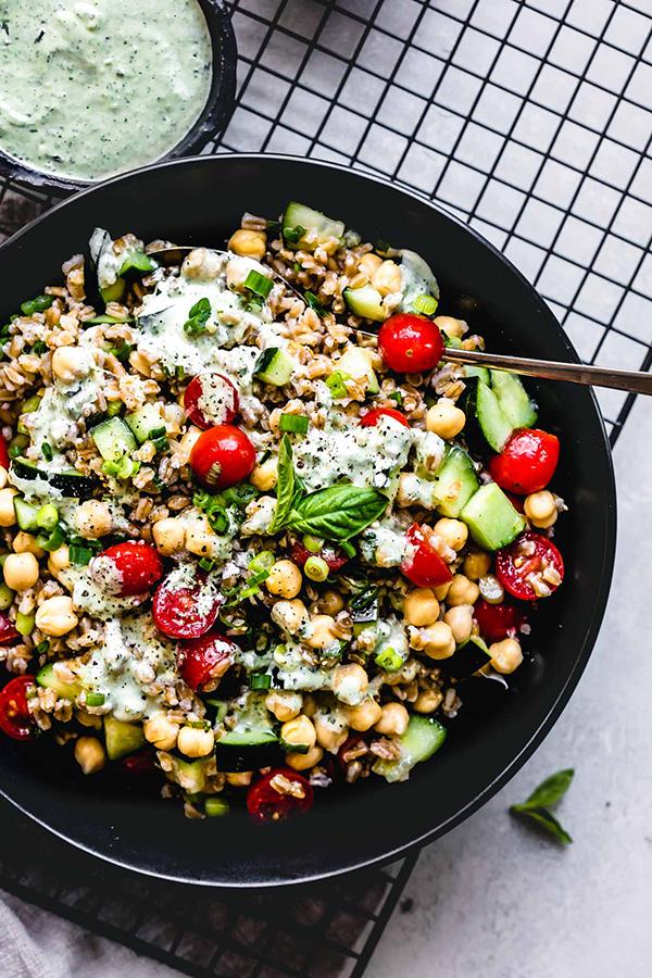 Farro Salad with Basil Lemon Tahini Dressing by Platings and Pairings