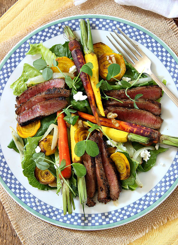 Peppercorn Steak Salad with Maple Roasted Carrots and Golden Beets by Simply Fresh Dinners