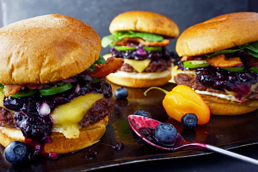 Habanero-Lime Blueberry Bacon Cheeseburgers