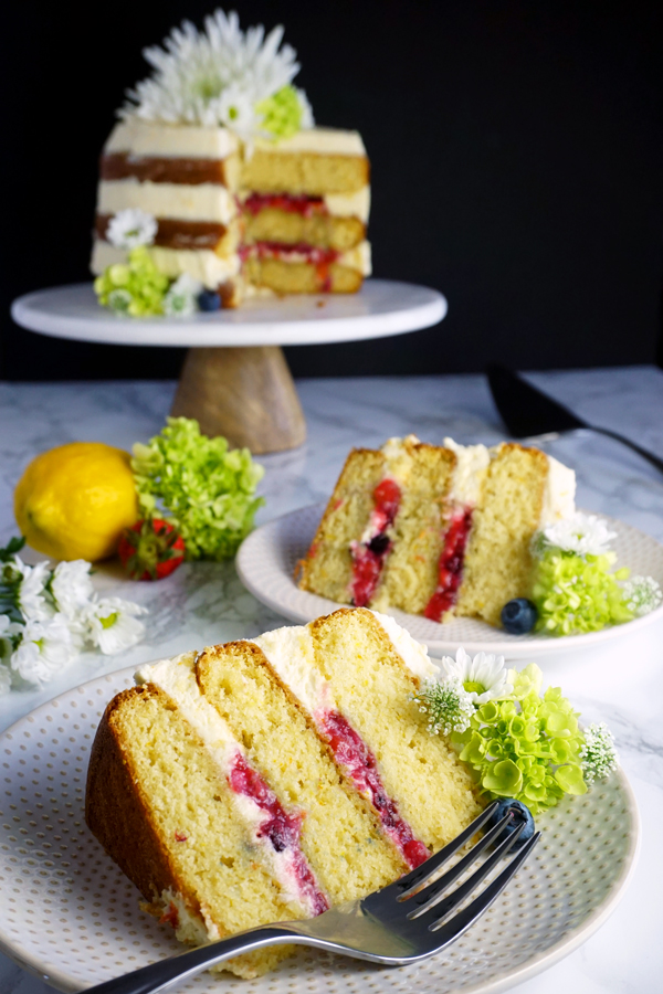 Citrus Chardonnay sangria cake with mascarpone cream and sangria fruit filling
