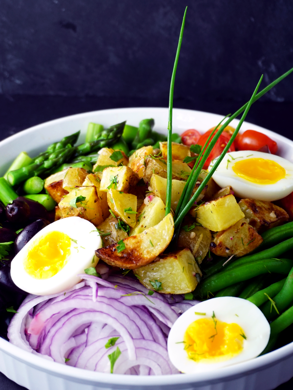 Spring Vegetable Nicoise Potato Salad with Chives and Lemon Herb Vinaigrette
