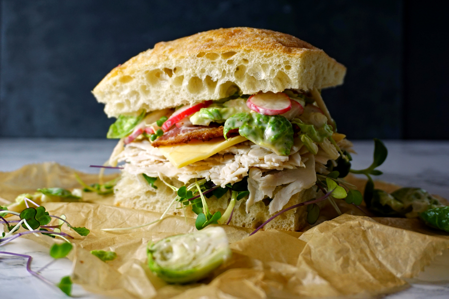 Turkey Bacon Club Sandwiches with Brussel Sprout Slaw