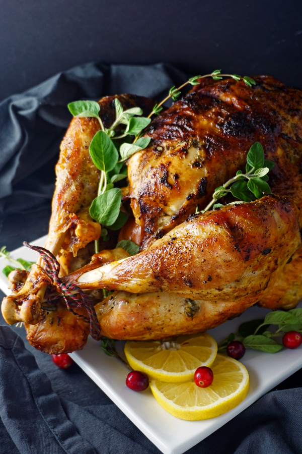 Juicy roasted turkey rubbed with mayo and butter