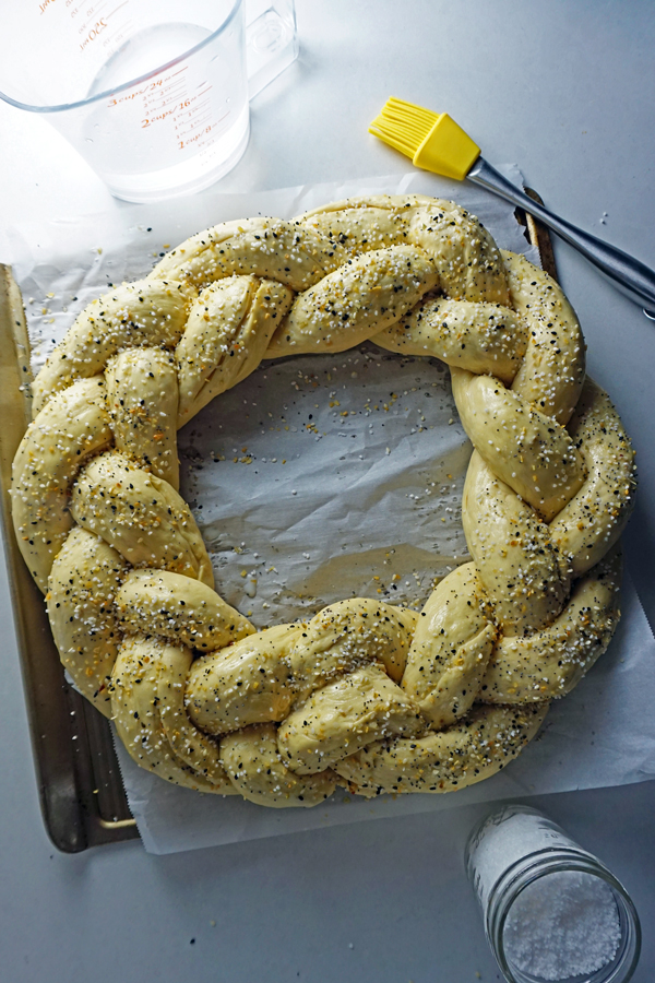 braided pretzel dough brushed with lye and seasoned with pretzel salt