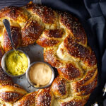 Braided Pretzel Wreath Stuffed with Ham and Cheese