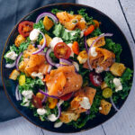 lox and bagel salad with cream cheese dressing