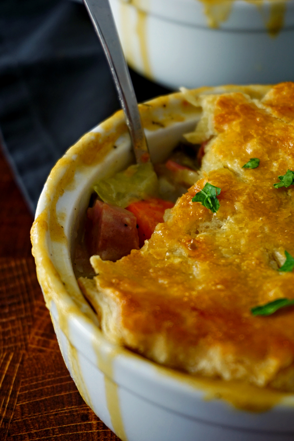 close up of the filling in a corned beef and cabbage pot pie