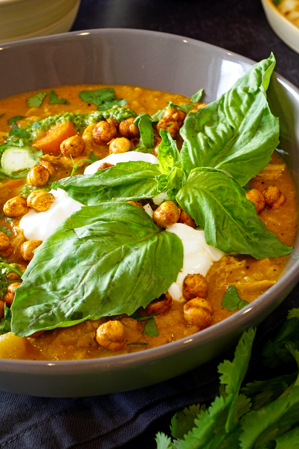 pressure cooker indian soup with green chutney, yogurt and chickpeas