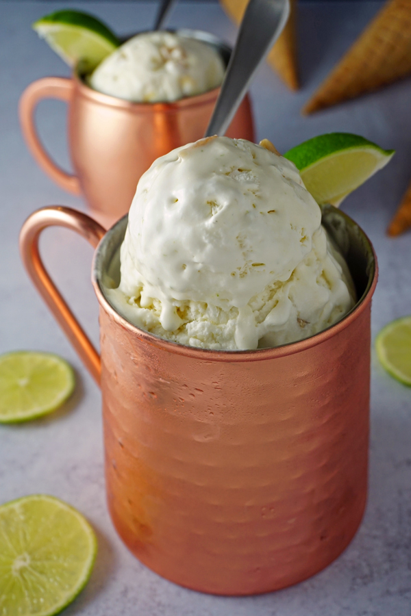 no-churn moscow mule ice cream in a hammered copper mug